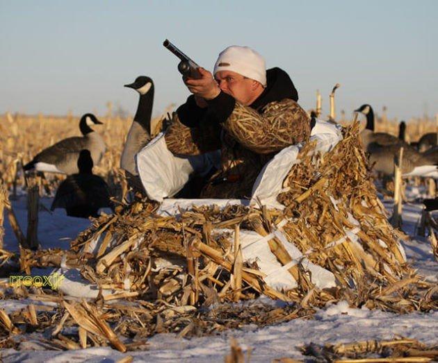 Лежачий скрадок для зимней охоты