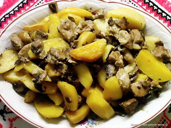 Говядина с картошкой и шампиньонами