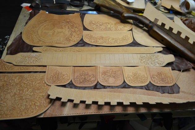 Заготовки из натуральной кожи для ягдташа