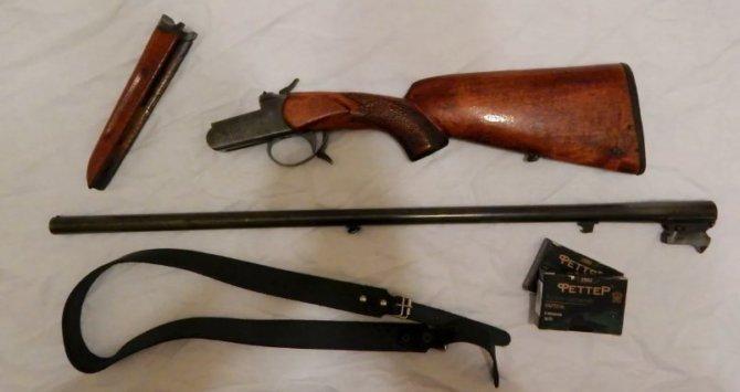 Охотничье ружье 16 калибра со снятым стволом