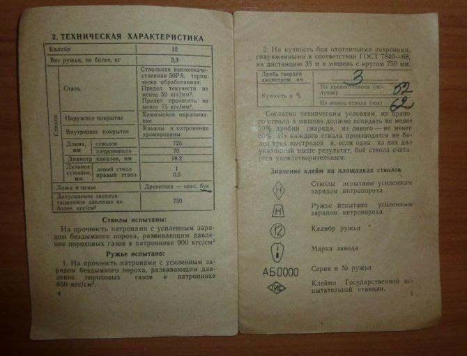 Паспорт ружья ИЖ-26
